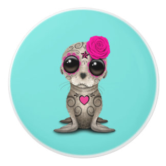 Pink Day of the Dead Baby Sea Lion Ceramic Knob