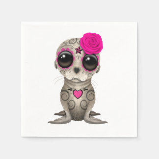 Pink Day of the Dead Baby Sea Lion Disposable Napkin