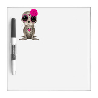Pink Day of the Dead Baby Sea Lion Dry Erase Board