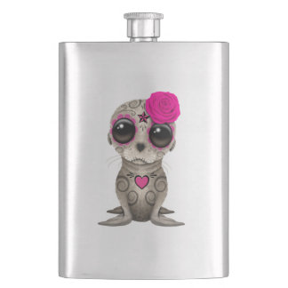 Pink Day of the Dead Baby Sea Lion Hip Flask