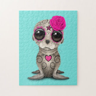 Pink Day of the Dead Baby Sea Lion Jigsaw Puzzle
