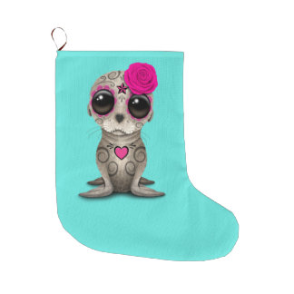 Pink Day of the Dead Baby Sea Lion Large Christmas Stocking