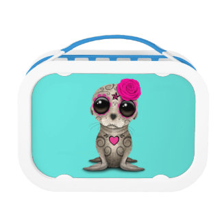 Pink Day of the Dead Baby Sea Lion Lunch Box