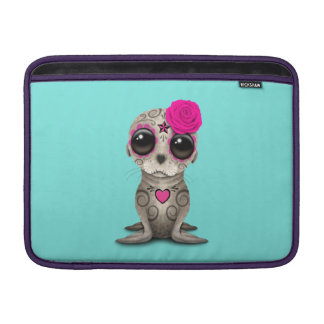 Pink Day of the Dead Baby Sea Lion MacBook Sleeve
