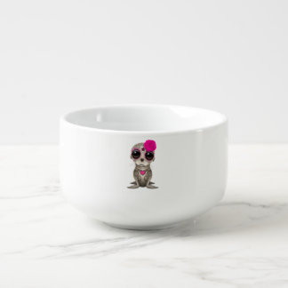 Pink Day of the Dead Baby Sea Lion Soup Mug