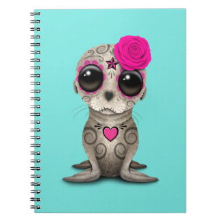 Pink Day of the Dead Baby Sea Lion Spiral Notebook