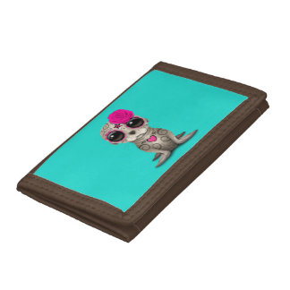 Pink Day of the Dead Baby Sea Lion Tri-fold Wallets