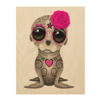 Pink Day of the Dead Baby Sea Lion Wood Print