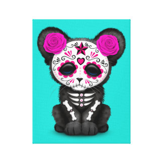 Pink Day of the Dead Black Panther Cub Canvas Print