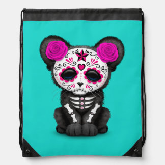 Pink Day of the Dead Black Panther Cub Drawstring Bag