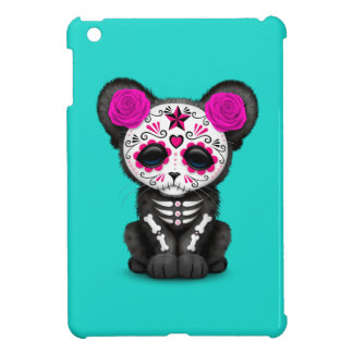 Pink Day of the Dead Black Panther Cub iPad Mini Covers