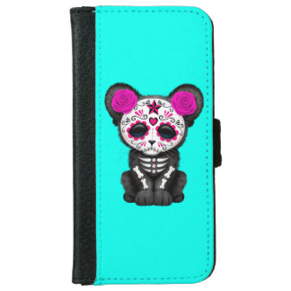 Pink Day of the Dead Black Panther Cub iPhone 6 Wallet Case