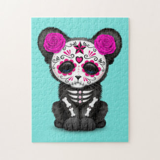 Pink Day of the Dead Black Panther Cub Jigsaw Puzzle