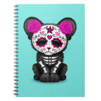 Pink Day of the Dead Black Panther Cub Notebook