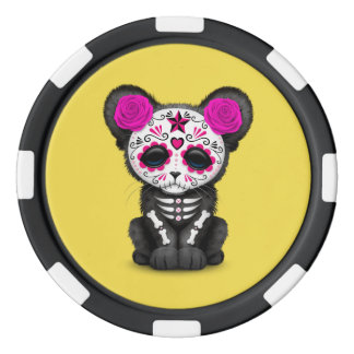 Pink Day of the Dead Black Panther Cub Poker Chips