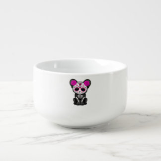 Pink Day of the Dead Black Panther Cub Soup Mug