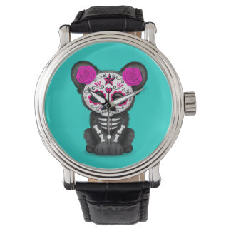 Pink Day of the Dead Black Panther Cub Watch