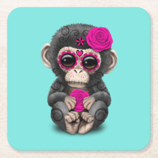 Pink Day of the Dead Chimp Square Paper Coaster
