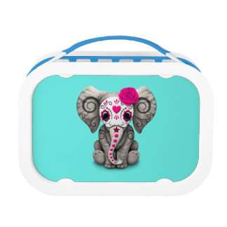 Pink Day of the Dead Elephant Lunch Box