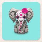 Pink Day of the Dead Elephant Square Paper Coaster