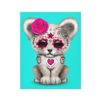 Pink Day of the Dead Lion Cub Canvas Print