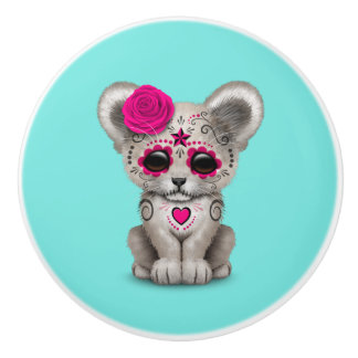 Pink Day of the Dead Lion Cub Ceramic Knob
