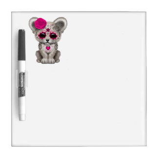 Pink Day of the Dead Lion Cub Dry Erase Board
