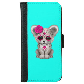Pink Day of the Dead Lion Cub iPhone 6 Wallet Case