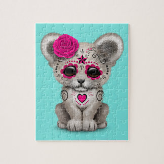 Pink Day of the Dead Lion Cub Jigsaw Puzzle