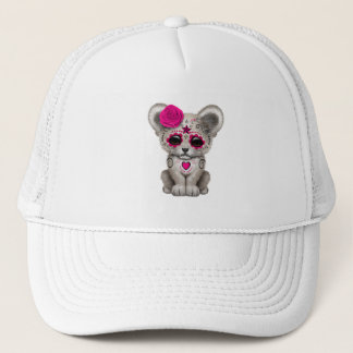 Pink Day of the Dead Lion Cub Trucker Hat
