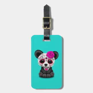 Pink Day of the Dead Panda Cub Luggage Tag