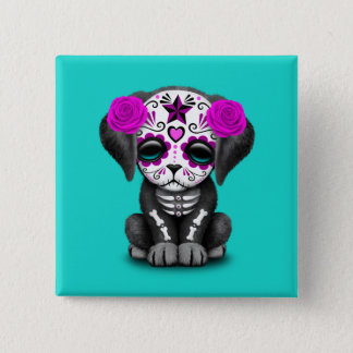 Pink Day of the Dead Puppy Dog 15 Cm Square Badge