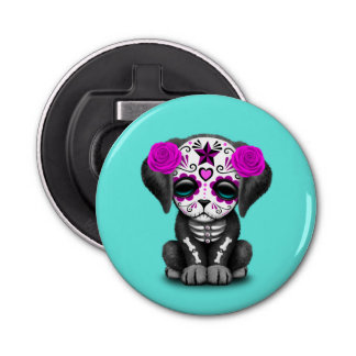 Pink Day of the Dead Puppy Dog Bottle Opener
