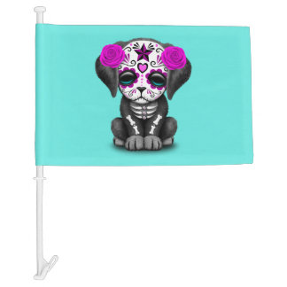 Pink Day of the Dead Puppy Dog Car Flag