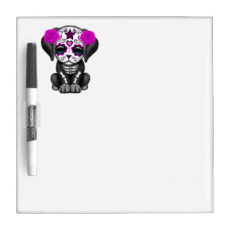 Pink Day of the Dead Puppy Dog Dry Erase Board