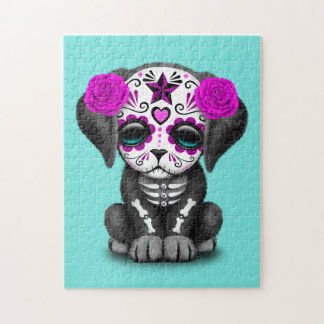 Pink Day of the Dead Puppy Dog Jigsaw Puzzle