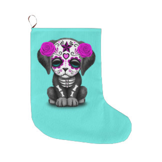 Pink Day of the Dead Puppy Dog Large Christmas Stocking