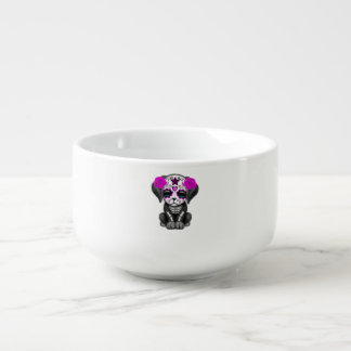 Pink Day of the Dead Puppy Dog Soup Mug