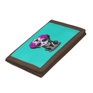 Pink Day of the Dead Puppy Dog Tri-fold Wallets