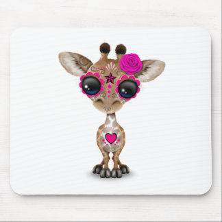 Pink Day of the Dead Sugar Skull Baby Giraffe Mouse Pad