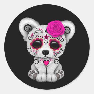 Pink Day of the Dead Sugar Skull Bear Black Round Sticker