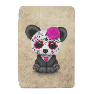 Pink Day of the Dead Sugar Skull Panda Aged iPad Mini Cover