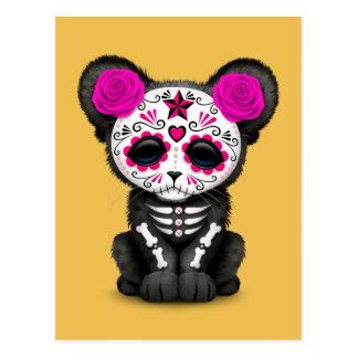 Pink Day of the Dead Sugar Skull Panther Cub Postcard