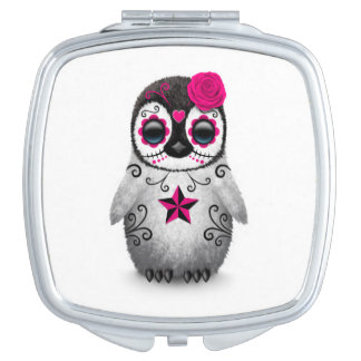 Pink Day of the Dead Sugar Skull Penguin White Travel Mirror