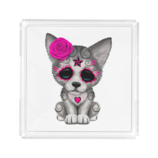 Pink Day of the Dead Wolf Cub Acrylic Tray