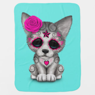Pink Day of the Dead Wolf Cub Baby Blanket