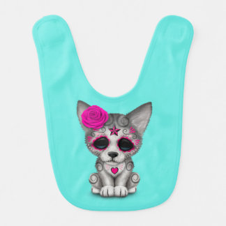 Pink Day of the Dead Wolf Cub Bib