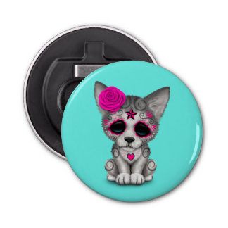Pink Day of the Dead Wolf Cub Bottle Opener