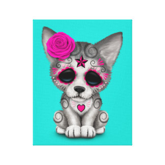 Pink Day of the Dead Wolf Cub Canvas Print