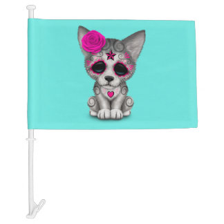 Pink Day of the Dead Wolf Cub Car Flag